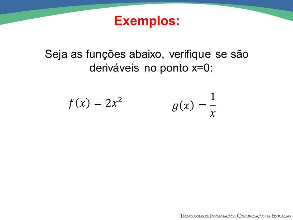 Seja as funções abaixo, verifique se são deriváveis no ponto x=0: Exemplos: