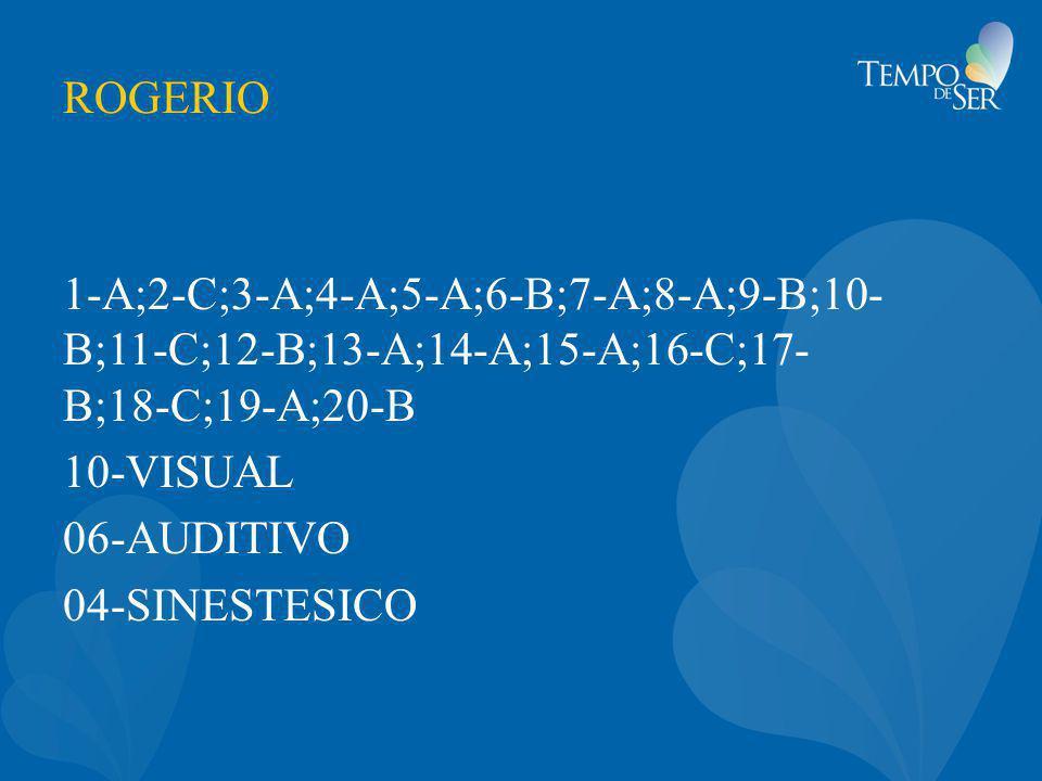 ROGERIO 1-A;2-C;3-A;4-A;5-A;6-B;7-A;8-A;9-B;10- B;11-C;12-B;13-A;14-A;15-A;16-C;17- B;18-C;19-A;20-B 10-VISUAL 06-AUDITIVO 04-SINESTESICO