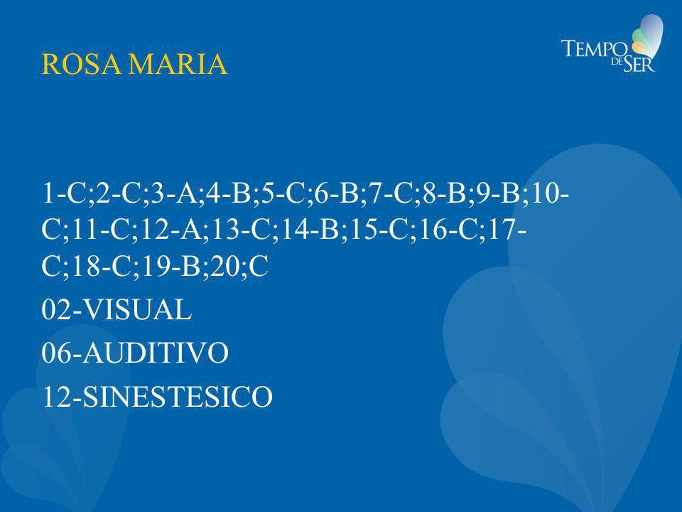ROSA MARIA 1-C;2-C;3-A;4-B;5-C;6-B;7-C;8-B;9-B;10- C;11-C;12-A;13-C;14-B;15-C;16-C;17- C;18-C;19-B;20;C 02-VISUAL 06-AUDITIVO 12-SINESTESICO