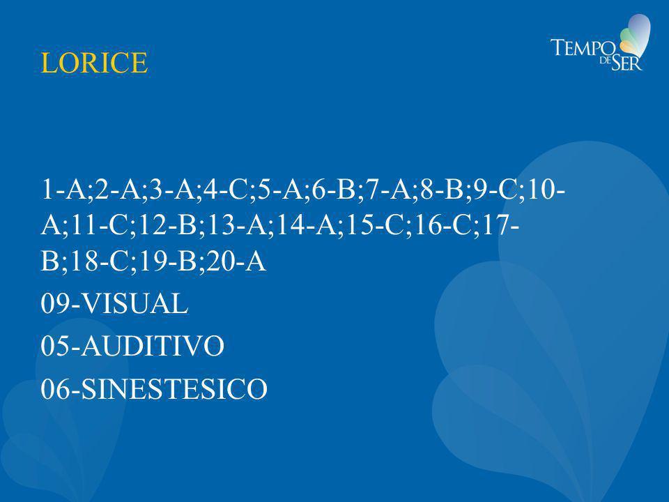 LORICE 1-A;2-A;3-A;4-C;5-A;6-B;7-A;8-B;9-C;10- A;11-C;12-B;13-A;14-A;15-C;16-C;17- B;18-C;19-B;20-A 09-VISUAL 05-AUDITIVO 06-SINESTESICO