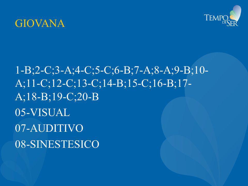 GIOVANA 1-B;2-C;3-A;4-C;5-C;6-B;7-A;8-A;9-B;10- A;11-C;12-C;13-C;14-B;15-C;16-B;17- A;18-B;19-C;20-B 05-VISUAL 07-AUDITIVO 08-SINESTESICO