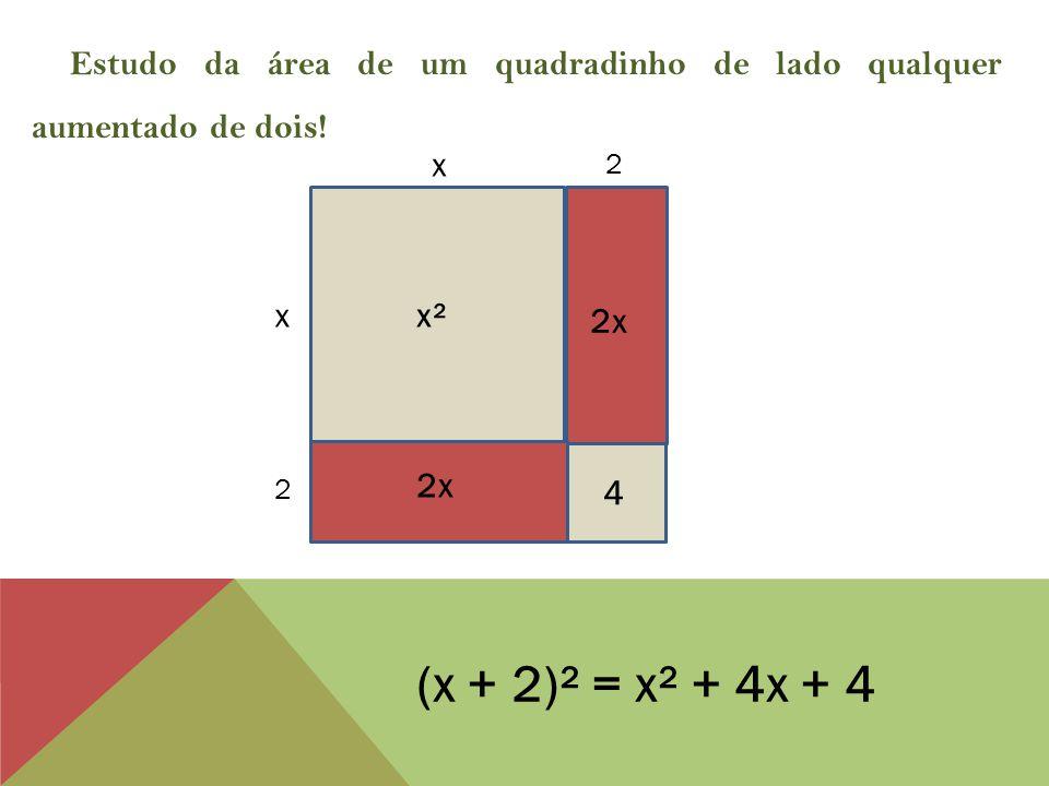 x x Estudo da área de um quadradinho de lado qualquer aumentado de dois.