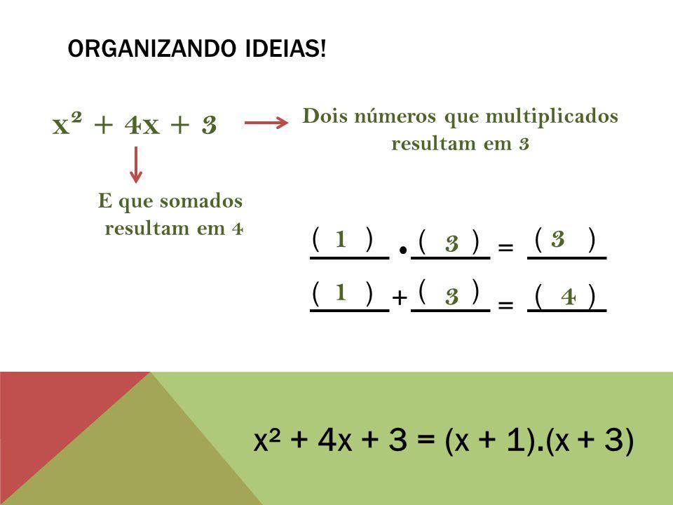 ORGANIZANDO CONCEITOS! x² + 7x + 12 Trinômio de segundo grau = (x + 3). (x + 4) Produto notável