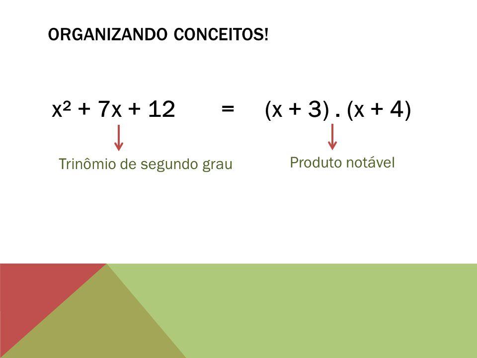 PARA TREINAR.x² + 11x + 30 = (x + 5). (x + 6) x² + 10x + 25 = (x + 5).