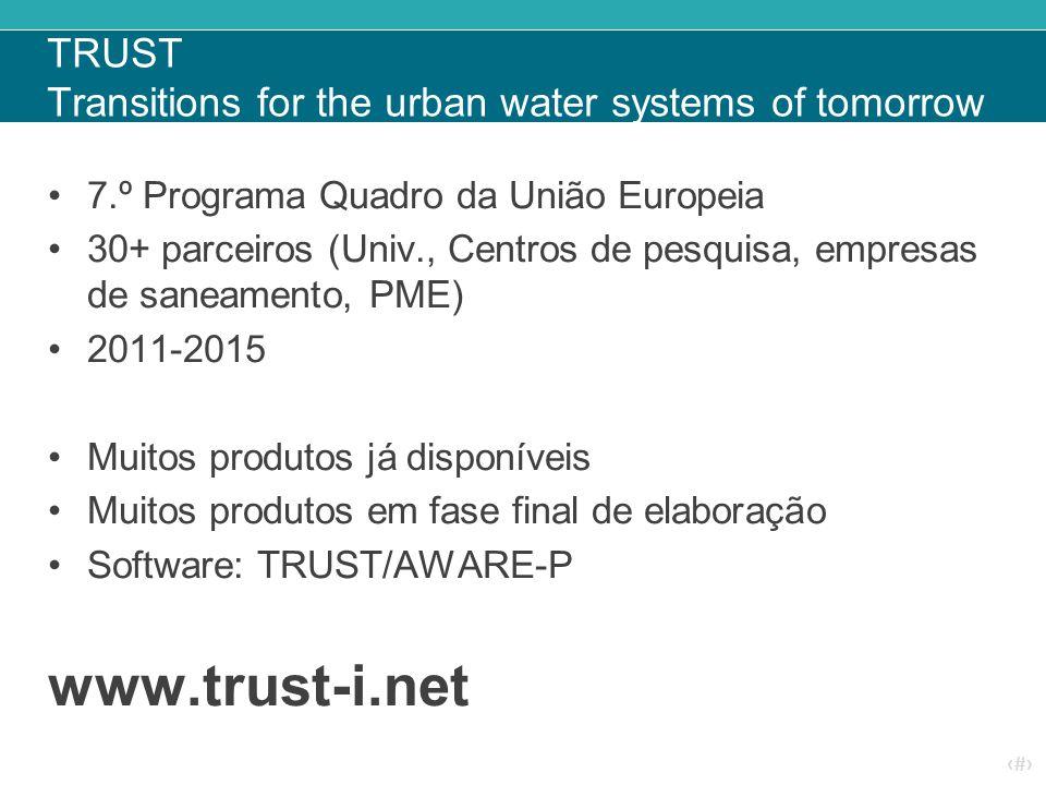 ‹#› TRUST Transitions for the urban water systems of tomorrow 7.º Programa Quadro da União Europeia 30+ parceiros (Univ., Centros de pesquisa, empresas de saneamento, PME) 2011-2015 Muitos produtos já disponíveis Muitos produtos em fase final de elaboração Software: TRUST/AWARE-P www.trust-i.net
