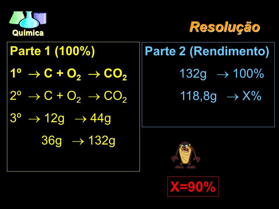 Química Rendimento EX1.: (CESAGRANRIO/95) - A combustão de 36g de grafite (C) provocou a formação de 118,8g de gás carbônico. Qual foi o rendimento da