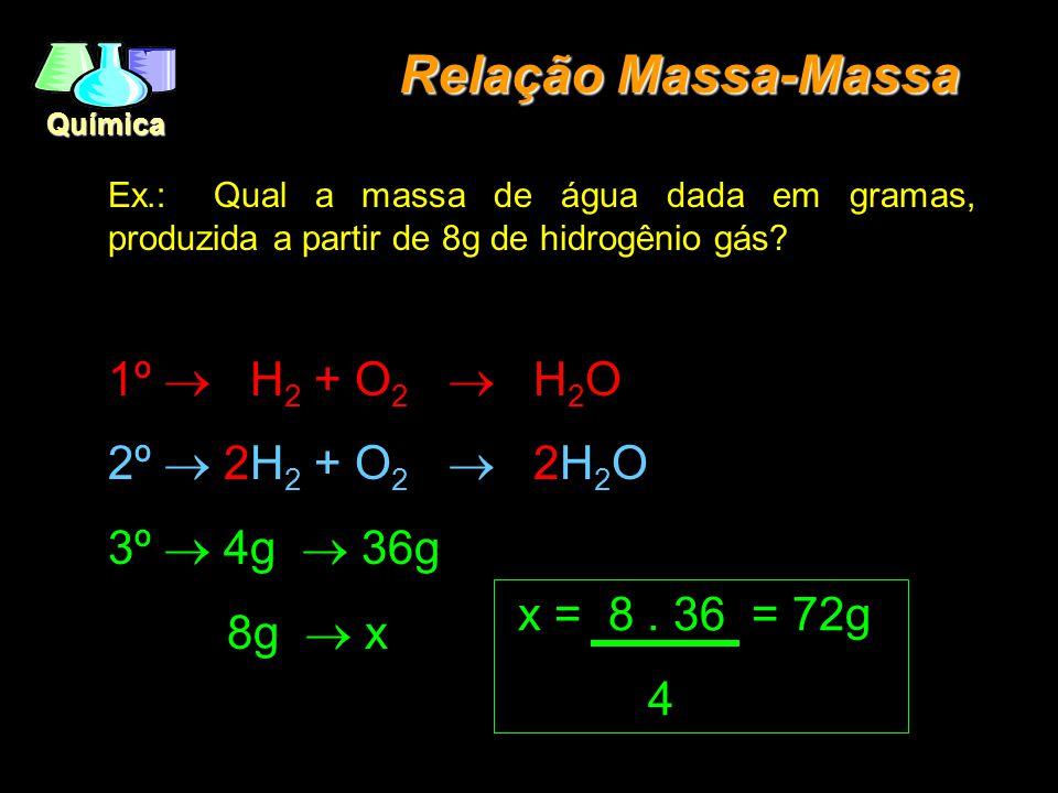 Química Relação Massa-Massa Ex.: Qual a massa de água dada em gramas, produzida a partir de 8g de hidrogênio gás.