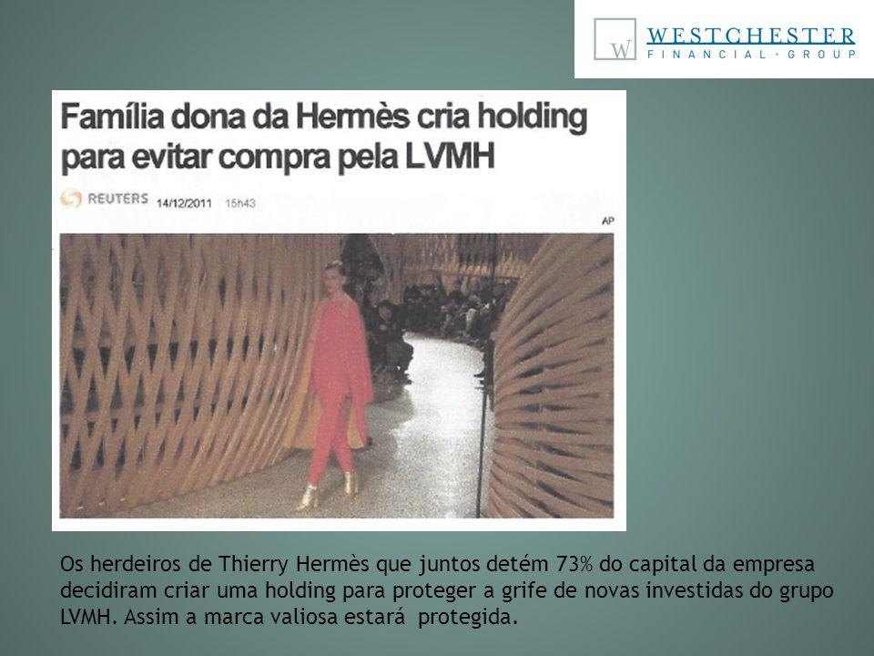 Os herdeiros de Thierry Hermès que juntos detém 73% do capital da empresa decidiram criar uma holding para proteger a grife de novas investidas do gru