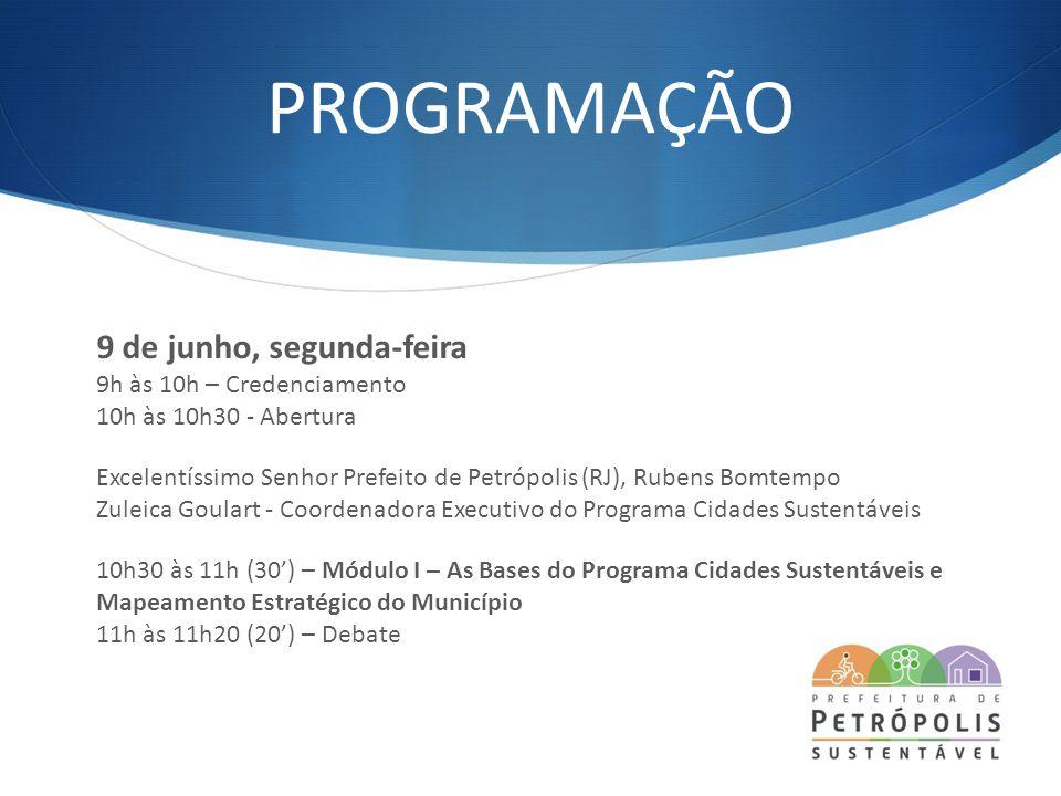 PROGRAMAÇÃO 9 de junho, segunda-feira 9h às 10h – Credenciamento 10h às 10h30 - Abertura Excelentíssimo Senhor Prefeito de Petrópolis (RJ), Rubens Bom