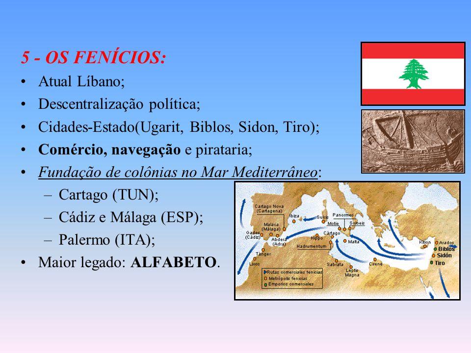 5 - OS FENÍCIOS: Atual Líbano; Descentralização política; Cidades-Estado(Ugarit, Biblos, Sidon, Tiro); Comércio, navegação e pirataria; Fundação de colônias no Mar Mediterrâneo: –Cartago (TUN); –Cádiz e Málaga (ESP); –Palermo (ITA); Maior legado: ALFABETO.