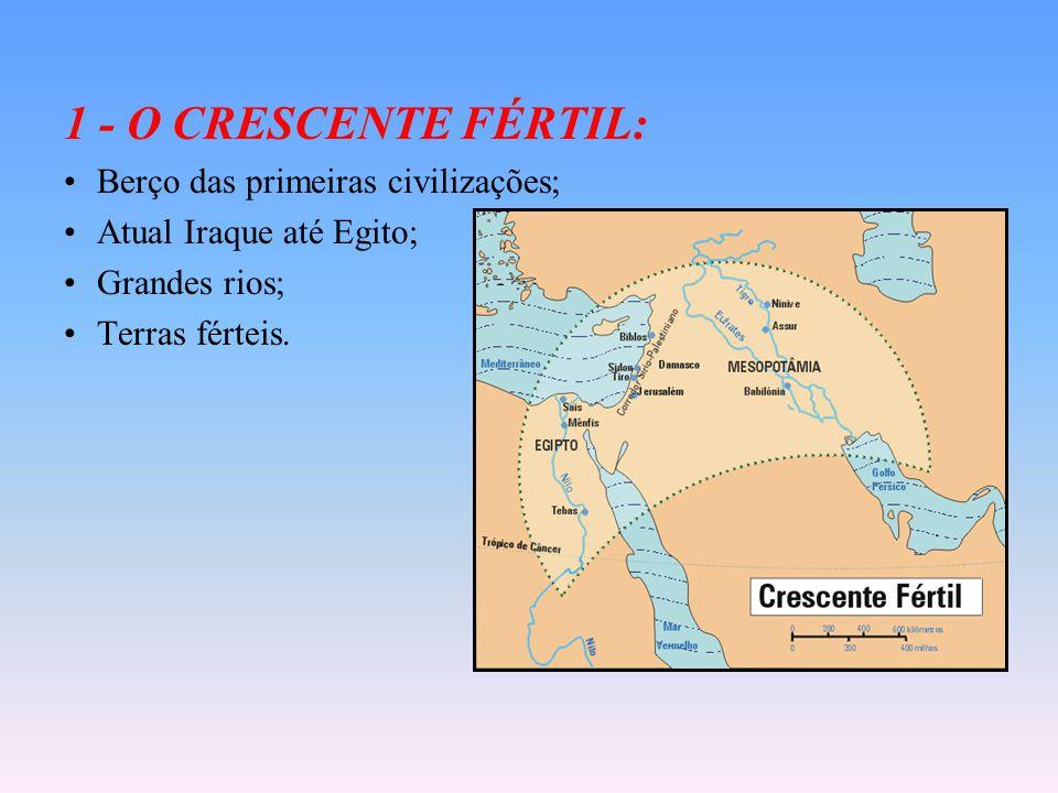 1 - O CRESCENTE FÉRTIL: Berço das primeiras civilizações; Atual Iraque até Egito; Grandes rios; Terras férteis.