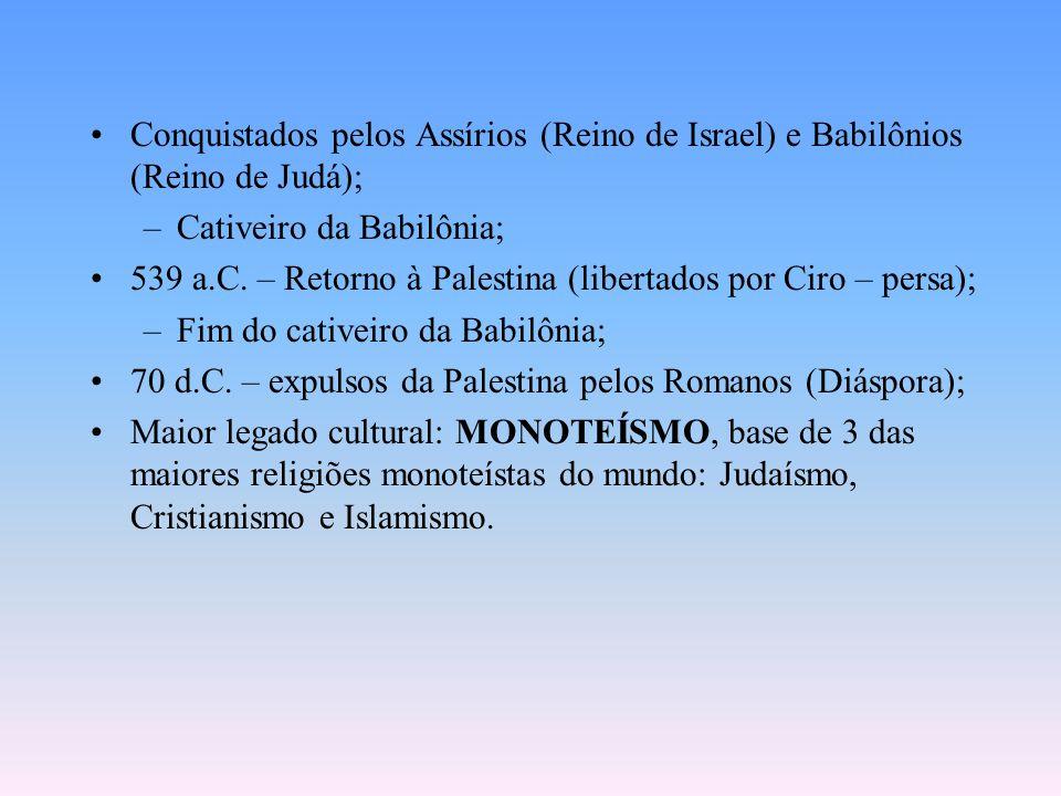 Conquistados pelos Assírios (Reino de Israel) e Babilônios (Reino de Judá); –Cativeiro da Babilônia; 539 a.C.