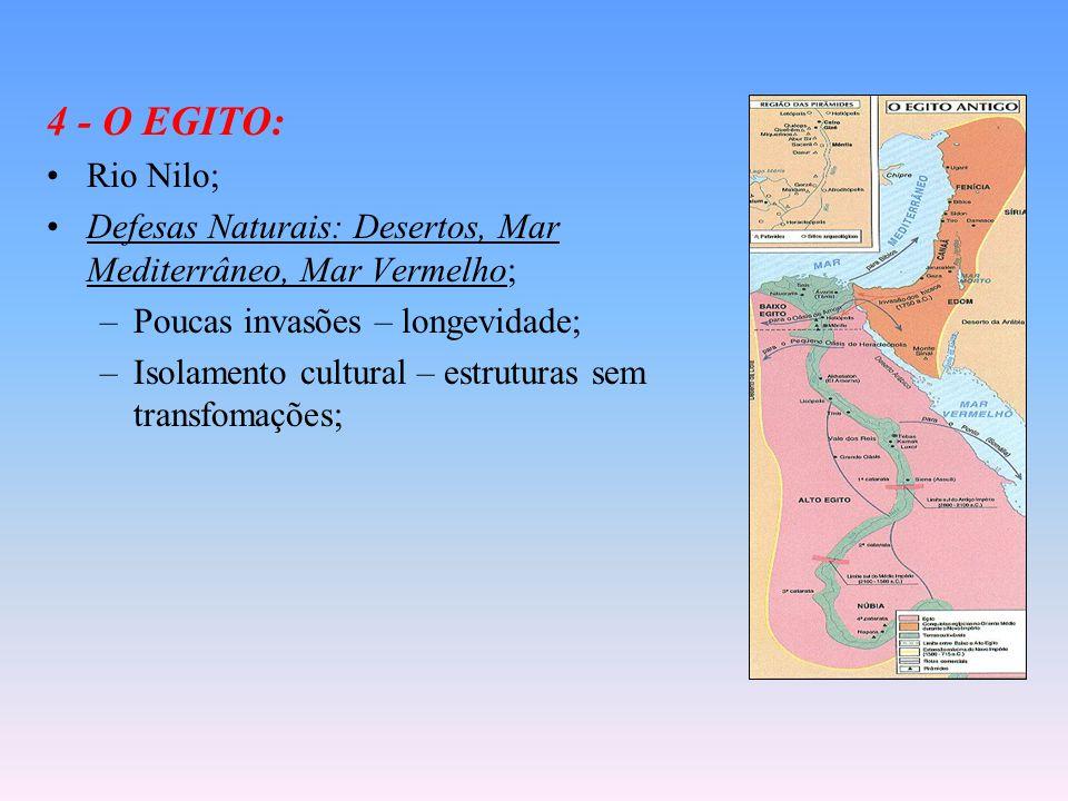 4 - O EGITO: Rio Nilo; Defesas Naturais: Desertos, Mar Mediterrâneo, Mar Vermelho; –Poucas invasões – longevidade; –Isolamento cultural – estruturas sem transfomações;
