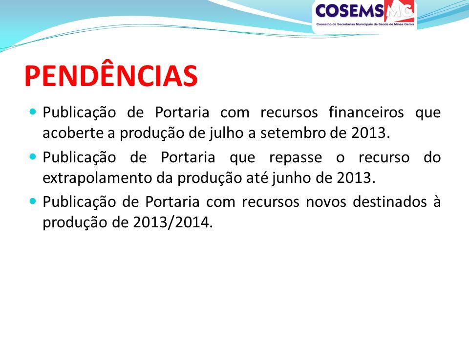 PENDÊNCIAS Publicação de Portaria com recursos financeiros que acoberte a produção de julho a setembro de 2013.