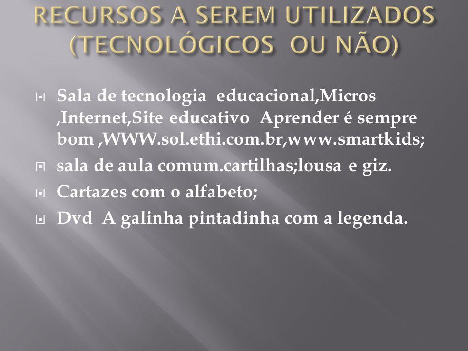  Sala de tecnologia educacional,Micros,Internet,Site educativo Aprender é sempre bom,WWW.sol.ethi.com.br,www.smartkids;  sala de aula comum.cartilhas;lousa e giz.