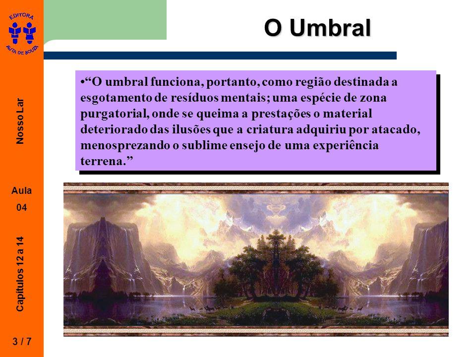 """Nosso Lar Aula 04 Capítulos 12 a 14 O Umbral 3 / 7 """"O umbral funciona, portanto, como região destinada a esgotamento de resíduos mentais; uma espécie"""