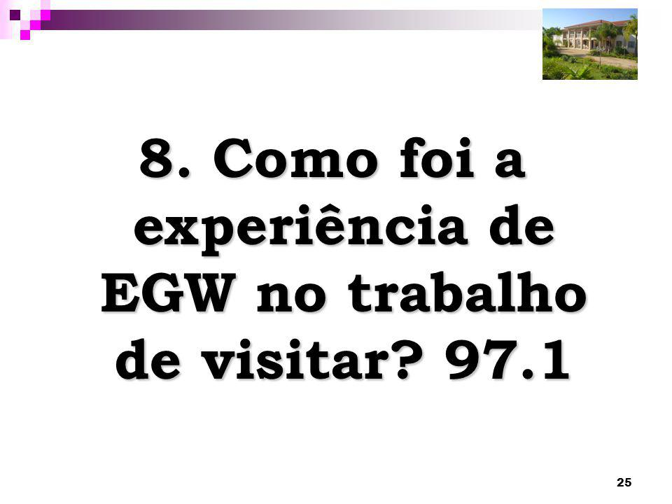 25 8. Como foi a experiência de EGW no trabalho de visitar? 97.1