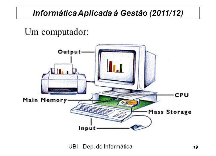 Informática Aplicada à Gestão (2011/12) UBI - Dep. de Informática 19 Um computador: