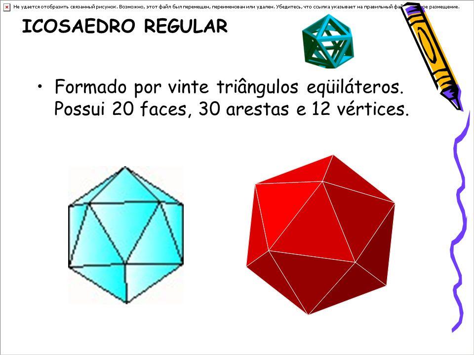 ICOSAEDRO REGULAR Formado por vinte triângulos eqüiláteros. Possui 20 faces, 30 arestas e 12 vértices.