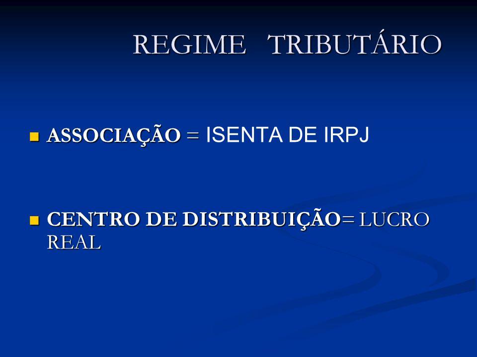 REGIME TRIBUTÁRIO ASSOCIAÇÃO = ASSOCIAÇÃO = ISENTA DE IRPJ CENTRO DE DISTRIBUIÇÃO= LUCRO REAL CENTRO DE DISTRIBUIÇÃO= LUCRO REAL