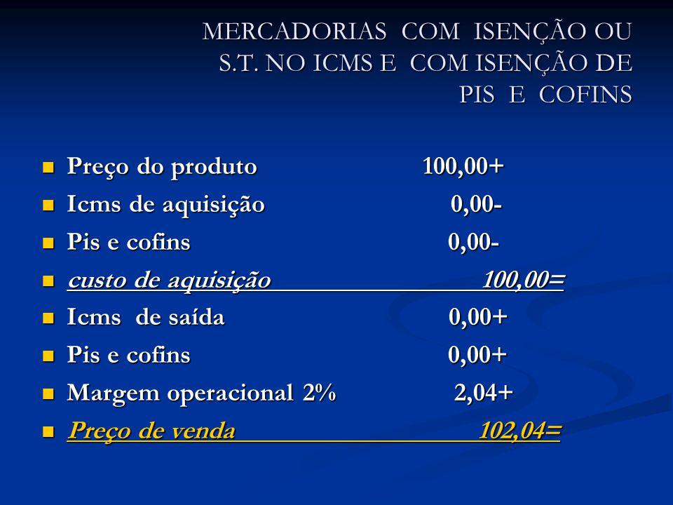 MERCADORIAS COM ISENÇÃO OU S.T.