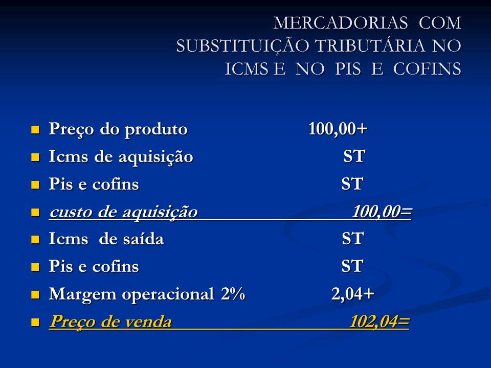 MERCADORIAS COM SUBSTITUIÇÃO TRIBUTÁRIA NO ICMS E NO PIS E COFINS Preço do produto 100,00+ Preço do produto 100,00+ Icms de aquisição ST Icms de aquisição ST Pis e cofins ST Pis e cofins ST custo de aquisição 100,00= custo de aquisição 100,00= Icms de saída ST Icms de saída ST Pis e cofins ST Pis e cofins ST Margem operacional 2% 2,04+ Margem operacional 2% 2,04+ Preço de venda 102,04= Preço de venda 102,04=