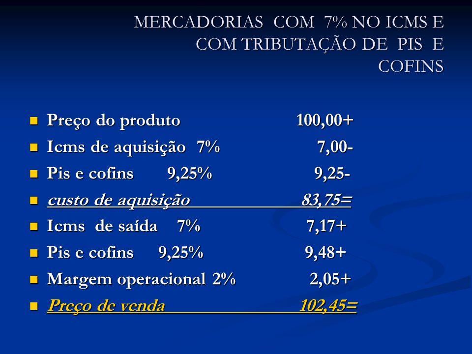 MERCADORIAS COM 7% NO ICMS E COM TRIBUTAÇÃO DE PIS E COFINS Preço do produto 100,00+ Preço do produto 100,00+ Icms de aquisição 7% 7,00- Icms de aquisição 7% 7,00- Pis e cofins 9,25% 9,25- Pis e cofins 9,25% 9,25- custo de aquisição 83,75= custo de aquisição 83,75= Icms de saída 7% 7,17+ Icms de saída 7% 7,17+ Pis e cofins 9,25% 9,48+ Pis e cofins 9,25% 9,48+ Margem operacional 2% 2,05+ Margem operacional 2% 2,05+ Preço de venda 102,45= Preço de venda 102,45=