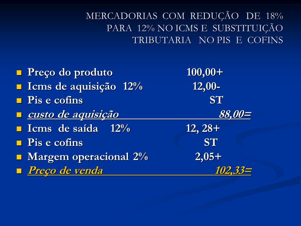 MERCADORIAS COM REDUÇÃO DE 18% PARA 12% NO ICMS E SUBSTITUIÇÃO TRIBUTARIA NO PIS E COFINS Preço do produto 100,00+ Preço do produto 100,00+ Icms de aquisição 12% 12,00- Icms de aquisição 12% 12,00- Pis e cofins ST Pis e cofins ST custo de aquisição 88,00= custo de aquisição 88,00= Icms de saída 12% 12, 28+ Icms de saída 12% 12, 28+ Pis e cofins ST Pis e cofins ST Margem operacional 2% 2,05+ Margem operacional 2% 2,05+ Preço de venda 102,33= Preço de venda 102,33=