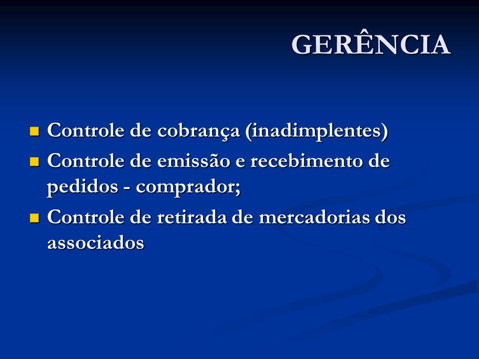GERÊNCIA Controle de cobrança (inadimplentes) Controle de cobrança (inadimplentes) Controle de emissão e recebimento de pedidos - comprador; Controle de emissão e recebimento de pedidos - comprador; Controle de retirada de mercadorias dos associados Controle de retirada de mercadorias dos associados