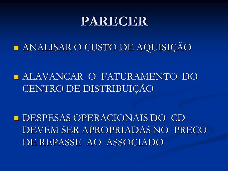 PARECER ANALISAR O CUSTO DE AQUISIÇÃO ANALISAR O CUSTO DE AQUISIÇÃO ALAVANCAR O FATURAMENTO DO CENTRO DE DISTRIBUIÇÃO ALAVANCAR O FATURAMENTO DO CENTRO DE DISTRIBUIÇÃO DESPESAS OPERACIONAIS DO CD DEVEM SER APROPRIADAS NO PREÇO DE REPASSE AO ASSOCIADO DESPESAS OPERACIONAIS DO CD DEVEM SER APROPRIADAS NO PREÇO DE REPASSE AO ASSOCIADO