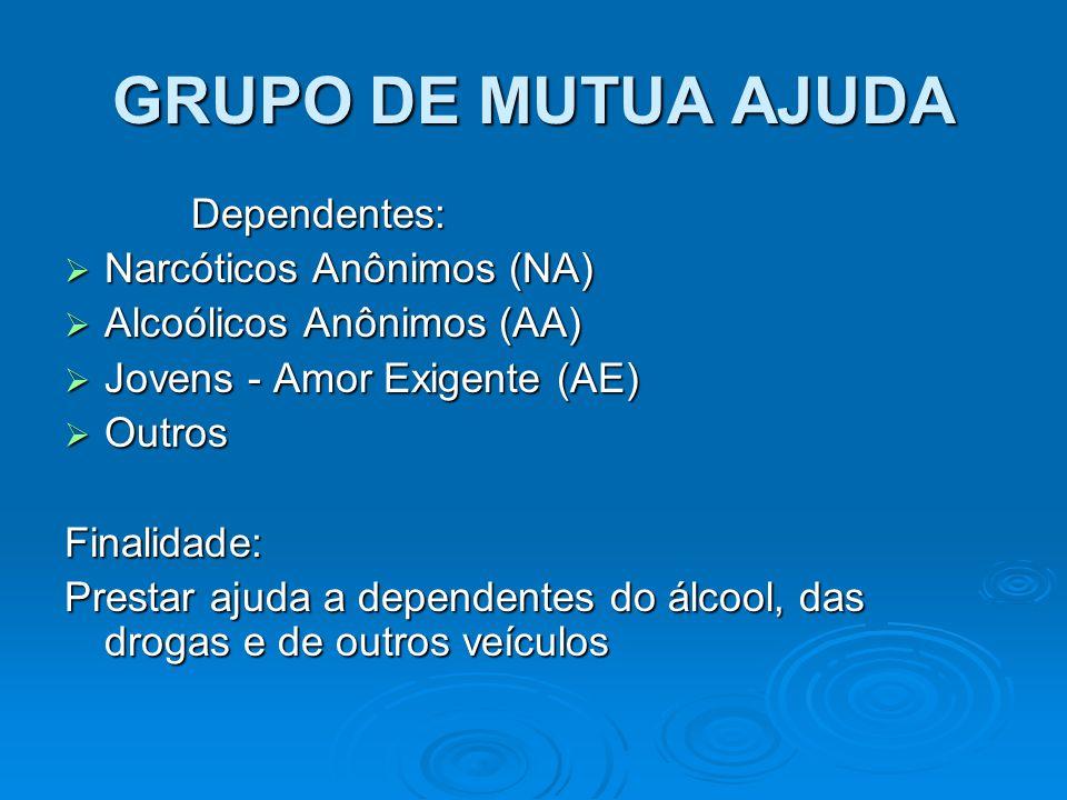 Dependentes: Dependentes:  Narcóticos Anônimos (NA)  Alcoólicos Anônimos (AA)  Jovens - Amor Exigente (AE)  Outros Finalidade: Prestar ajuda a dependentes do álcool, das drogas e de outros veículos