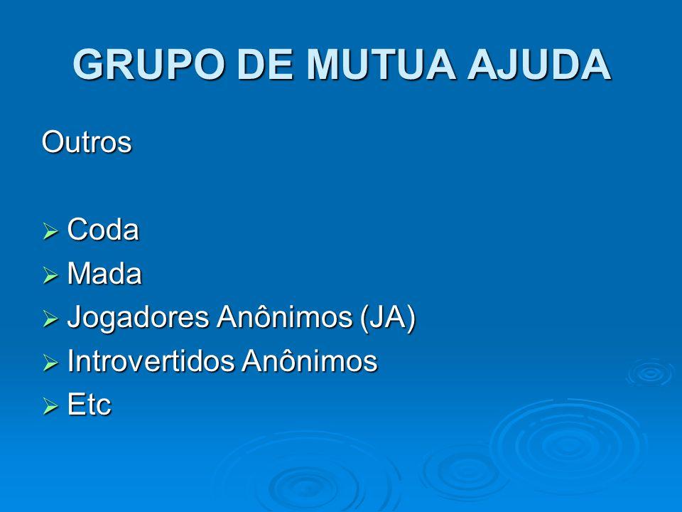 GRUPO DE MUTUA AJUDA Outros  Coda  Mada  Jogadores Anônimos (JA)  Introvertidos Anônimos  Etc
