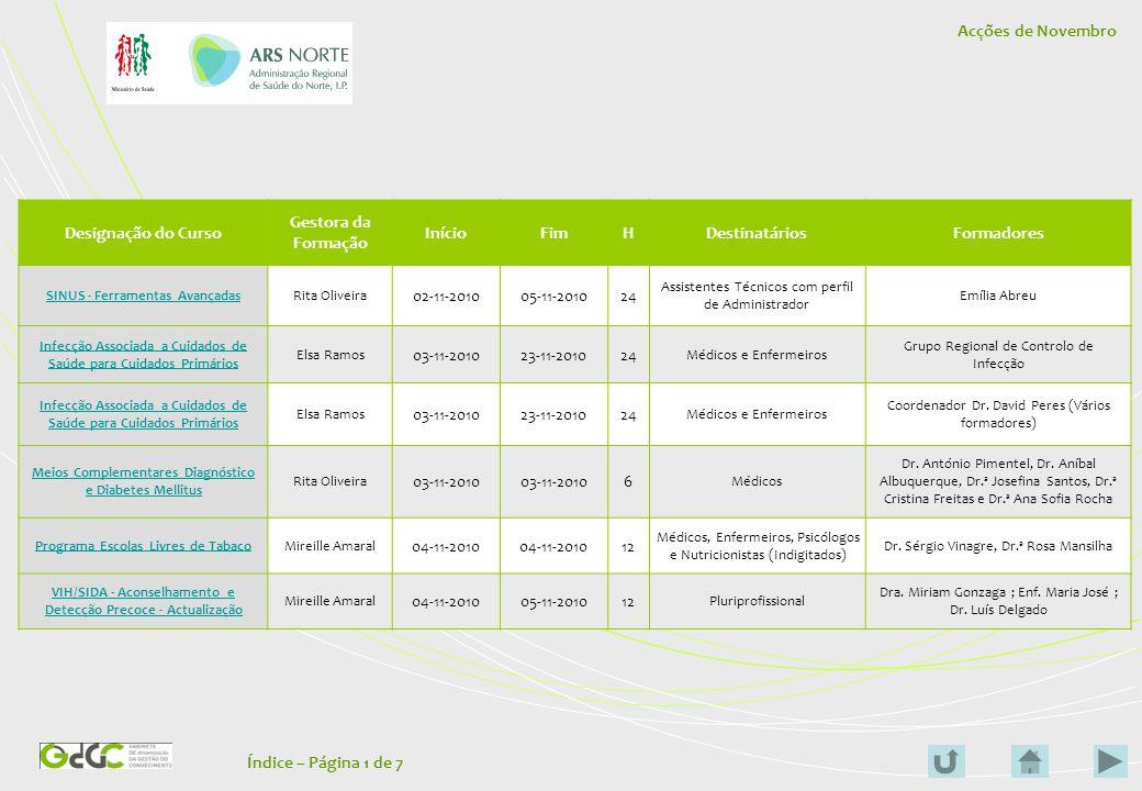 Acções de Novembro e Dezembro - Programas e Conteúdos