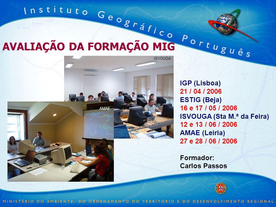 AVALIAÇÃO DA FORMAÇÃO MIG IGP (Lisboa) 21 / 04 / 2006 ESTIG (Beja) 16 e 17 / 05 / 2006 ISVOUGA (Sta M.ª da Feira) 12 e 13 / 06 / 2006 AMAE (Leiria) 27 e 28 / 06 / 2006 Formador: Carlos Passos ISVOUGA AMAE