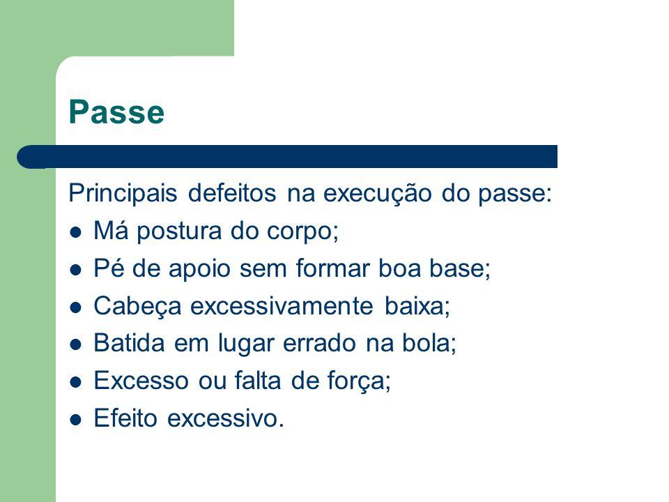 Passe Principais defeitos na execução do passe: Má postura do corpo; Pé de apoio sem formar boa base; Cabeça excessivamente baixa; Batida em lugar err