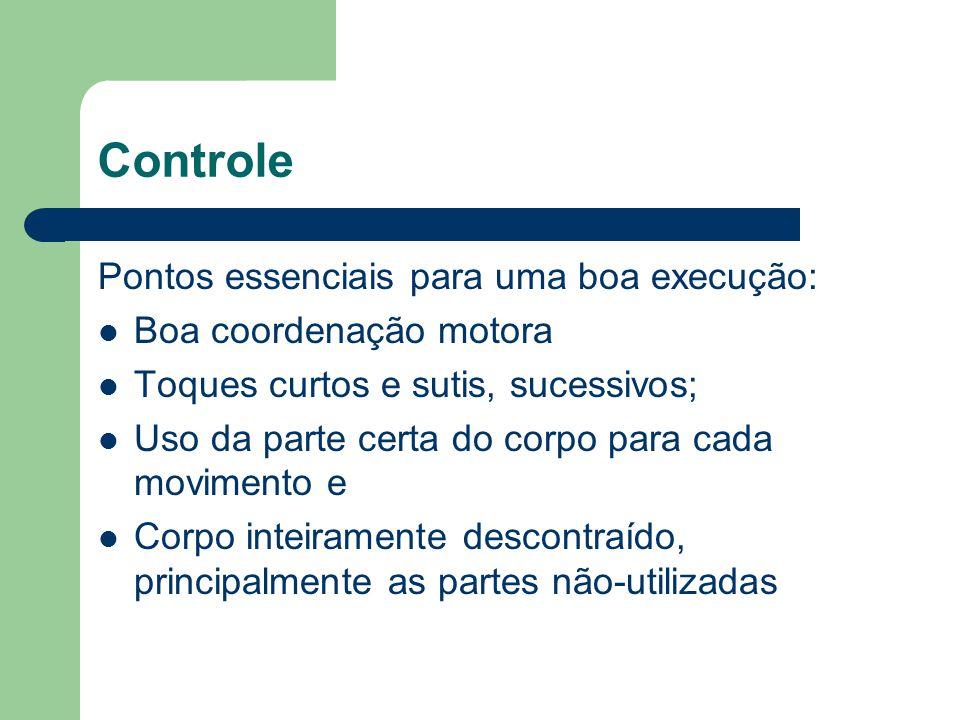 Controle Pontos essenciais para uma boa execução: Boa coordenação motora Toques curtos e sutis, sucessivos; Uso da parte certa do corpo para cada movi