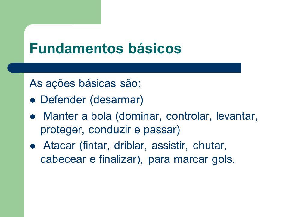 Fundamentos básicos As ações básicas são: Defender (desarmar) Manter a bola (dominar, controlar, levantar, proteger, conduzir e passar) Atacar (fintar