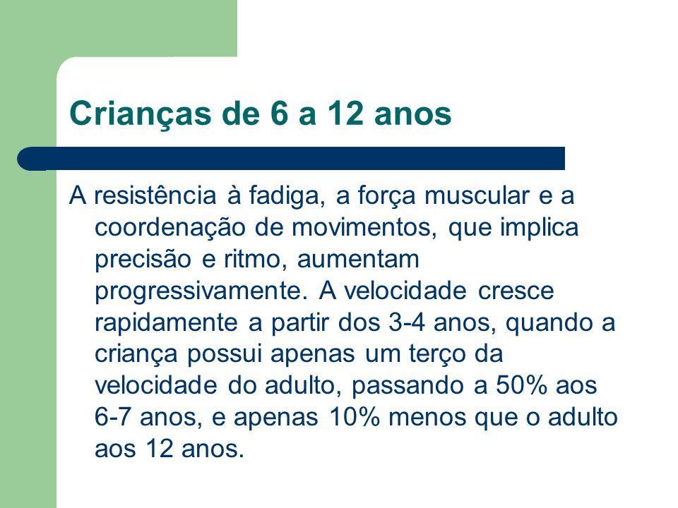 Crianças de 6 a 12 anos A resistência à fadiga, a força muscular e a coordenação de movimentos, que implica precisão e ritmo, aumentam progressivament