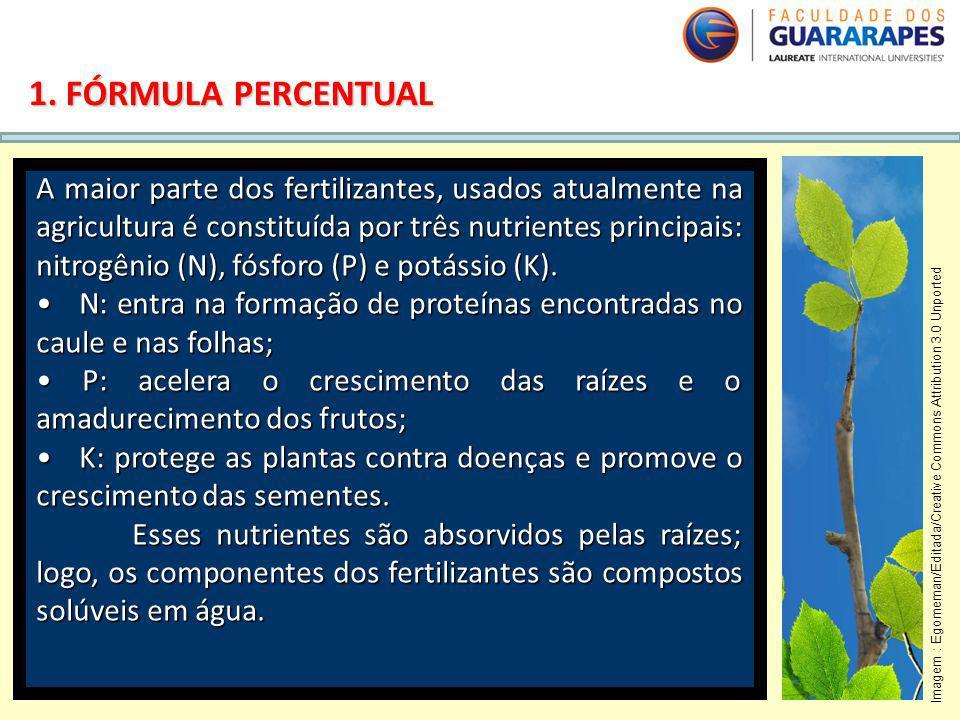 QUÍMICA, 2º Ano do Ensino Médio Cálculos estequiométricos: fórmula percentual e fórmula mínima. 1. FÓRMULA PERCENTUAL A maior parte dos fertilizantes,