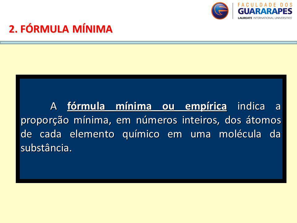 QUÍMICA, 2º Ano do Ensino Médio Cálculos estequiométricos: fórmula percentual e fórmula mínima. 2. FÓRMULA MÍNIMA A fórmula mínima ou empírica indica