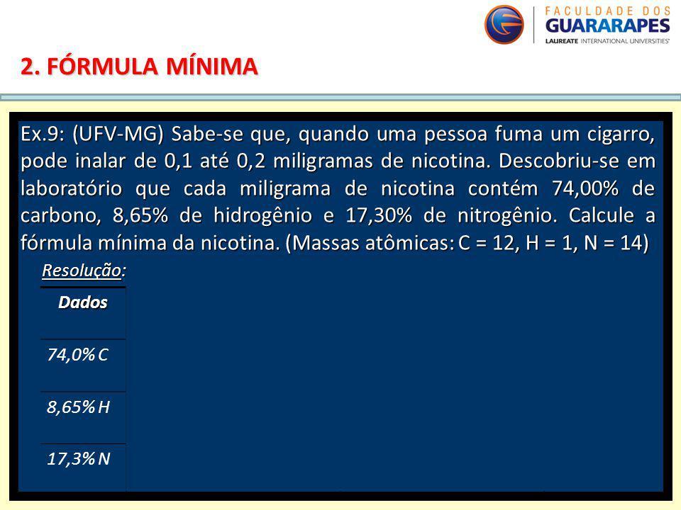QUÍMICA, 2º Ano do Ensino Médio Cálculos estequiométricos: fórmula percentual e fórmula mínima. 2. FÓRMULA MÍNIMA Ex.9: (UFV-MG) Sabe-se que, quando u