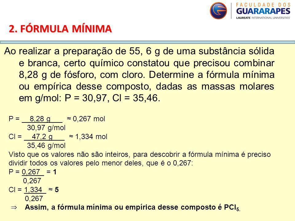 QUÍMICA, 2º Ano do Ensino Médio Cálculos estequiométricos: fórmula percentual e fórmula mínima. 2. FÓRMULA MÍNIMA Ao realizar a preparação de 55, 6 g