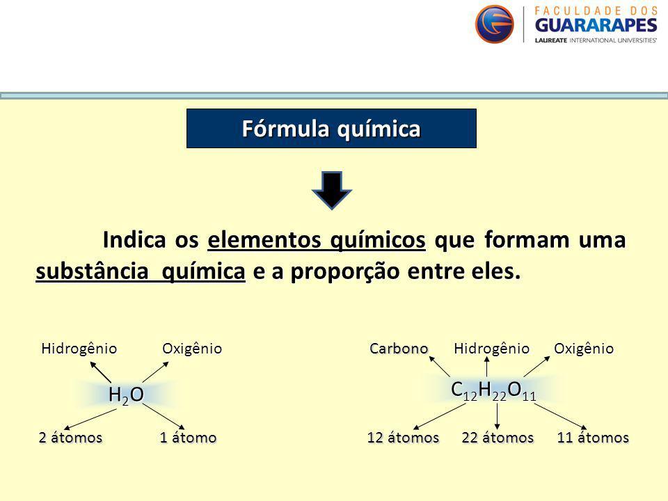 QUÍMICA, 2º Ano do Ensino Médio Cálculos estequiométricos: fórmula percentual e fórmula mínima. Fórmula química Indica os elementos químicos que forma