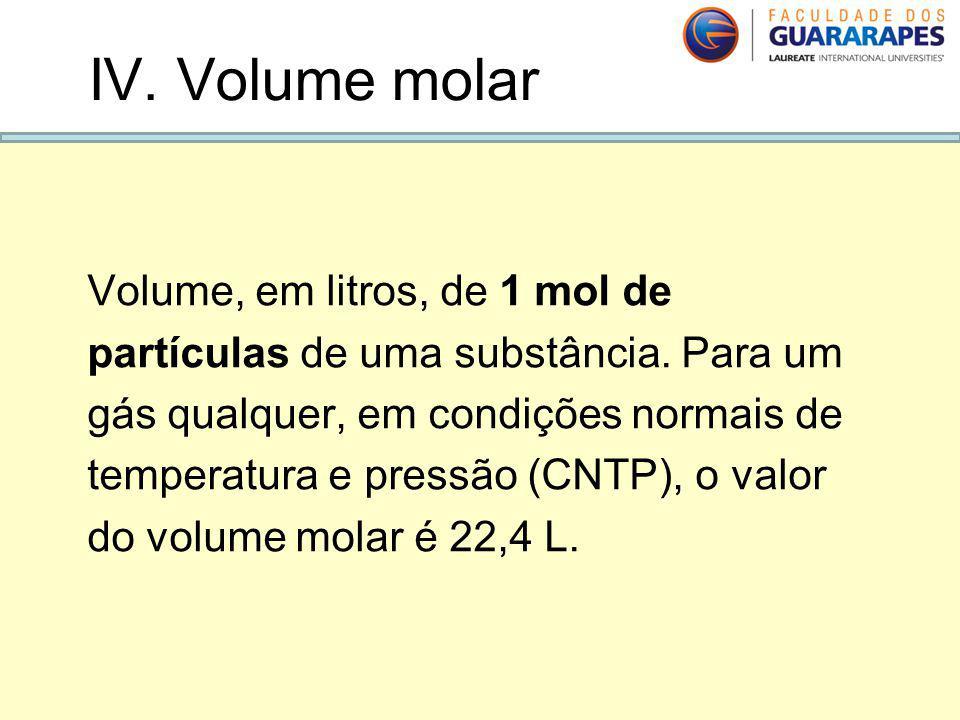 Volume, em litros, de 1 mol de partículas de uma substância. Para um gás qualquer, em condições normais de temperatura e pressão (CNTP), o valor do vo