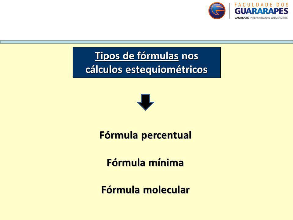 QUÍMICA, 2º Ano do Ensino Médio Cálculos estequiométricos: fórmula percentual e fórmula mínima. Tipos de fórmulas nos cálculos estequiométricos Fórmul