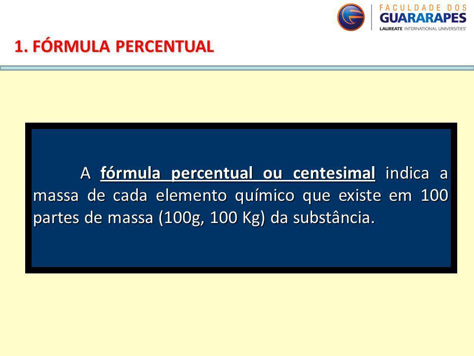 QUÍMICA, 2º Ano do Ensino Médio Cálculos estequiométricos: fórmula percentual e fórmula mínima 1. FÓRMULA PERCENTUAL A fórmula percentual ou centesima