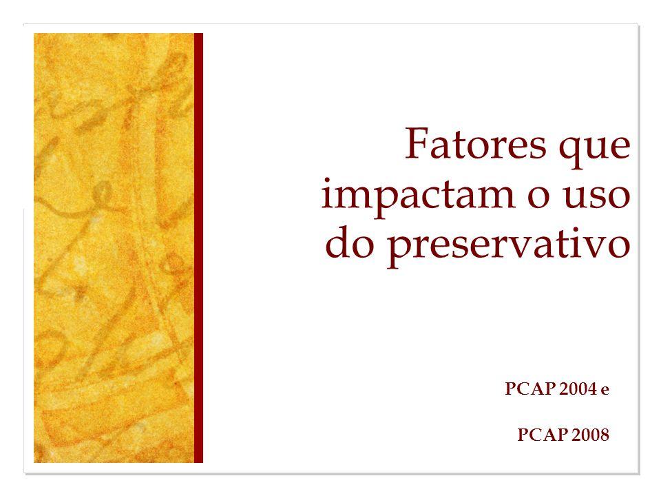 Fatores que impactam o uso do preservativo PCAP 2004 e PCAP 2008