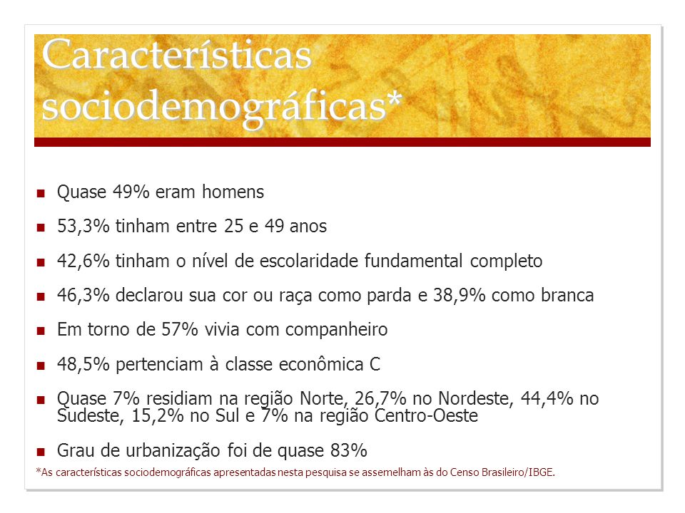 Características sociodemográficas* Quase 49% eram homens 53,3% tinham entre 25 e 49 anos 42,6% tinham o nível de escolaridade fundamental completo 46,3% declarou sua cor ou raça como parda e 38,9% como branca Em torno de 57% vivia com companheiro 48,5% pertenciam à classe econômica C Quase 7% residiam na região Norte, 26,7% no Nordeste, 44,4% no Sudeste, 15,2% no Sul e 7% na região Centro-Oeste Grau de urbanização foi de quase 83% *As características sociodemográficas apresentadas nesta pesquisa se assemelham às do Censo Brasileiro/IBGE.
