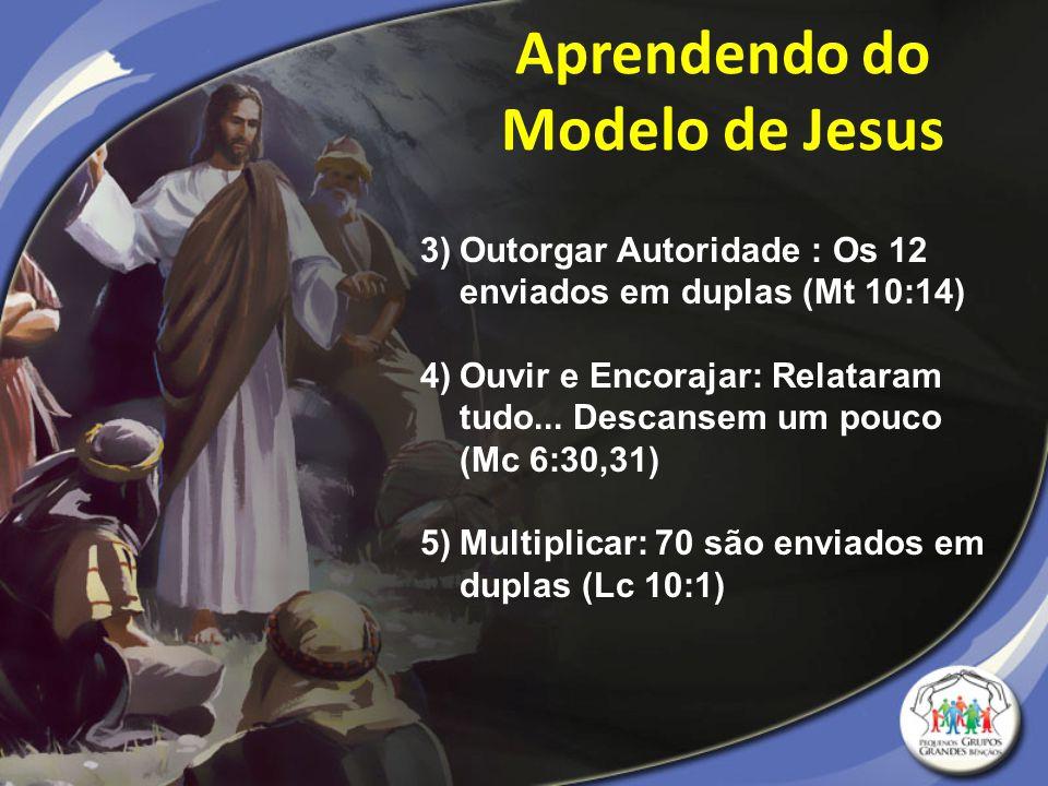 3)Outorgar Autoridade : Os 12 enviados em duplas (Mt 10:14) 4)Ouvir e Encorajar: Relataram tudo... Descansem um pouco (Mc 6:30,31) 5)Multiplicar: 70 s