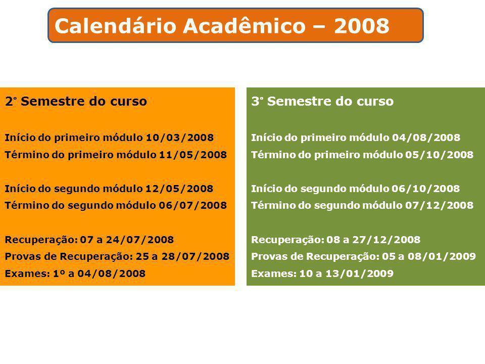 2° Semestre do curso Início do primeiro módulo 10/03/2008 Término do primeiro módulo 11/05/2008 Início do segundo módulo 12/05/2008 Término do segundo